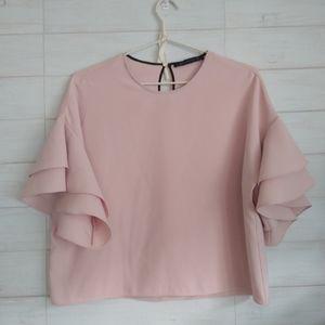 Zara -  Cropper Pink Ruffle Blouse